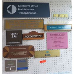 Multiple Signs: Credit Manager, Private, Executive Office, Accounting, etc