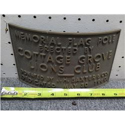 """Curved Metal Sign: Memorial Flag Pole Cottage Grove Lions Club 9""""Length"""