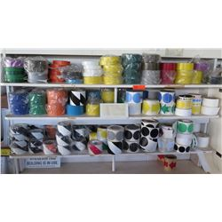 Contents of Shelf: Multiple Rolls Misc Color Round Stickers, Tape, etc