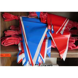 Qty 10 Red, White & Blue Pennants w/ Red String Cords