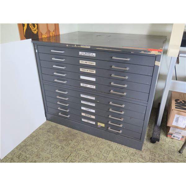 "10 Drawer Cabinet 43""x33""x36"""