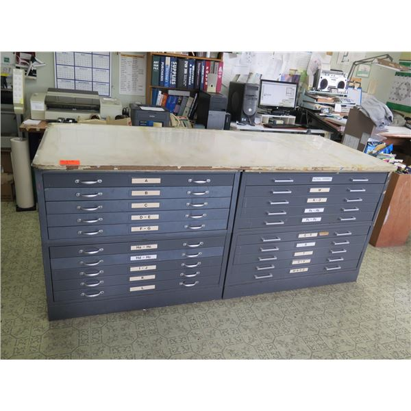 """Table Made From Two 10 Drawer Cabinets  85""""x36""""x36"""""""