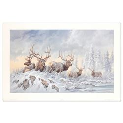 """Larry Fanning (1938-2014), """"Solstice Rendezvous - Elk"""" Limited Edition Lithograph, Numbered and Hand"""