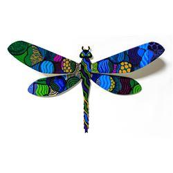 "Patricia Govezensky- Original Painting on Cutout Steel ""Dragonfly LXXVII"""