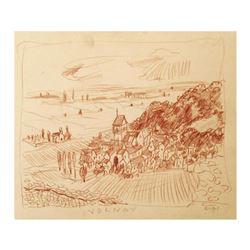 "Wayne Ensrud ""Volnay, Burgundy"" Pastel Original Artwork; Hand Signed; COA"