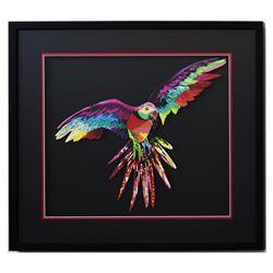 "Patricia Govezensky- Original Painting on Laser Cut Steel ""Macaw XIII"""