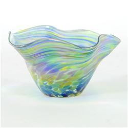 "Glass Eye Studios, ""Mini Wave Bowl (Bonnet Twist)"" Hand Blown Glass Sculpture (Second)."