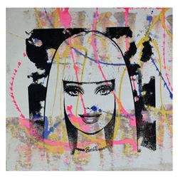 """Gail Rodgers, """"Barbie"""" Hand Signed Original Hand Pulled Silkscreen Mixed Media on Canvas with Letter"""