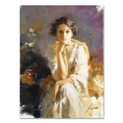 """Pino (1939-2010), """"Yellow Shawl"""" Artist Embellished Limited Edition on Canvas, AP Numbered and Hand"""
