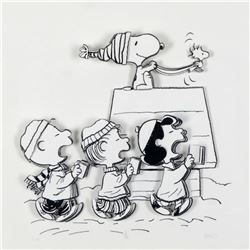 """Peanuts, """"Caroling Crew"""" Hand Numbered Limited Edition 3D Decoupage with Certificate of Authenticity"""