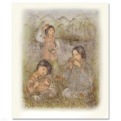 """""""Morning at Brook Side"""" Limited Edition Lithograph by Edna Hibel (1917-2014), Numbered and Hand Sign"""