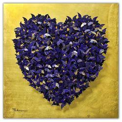 "Patricia Govezensky- Original 3D Metal Art on 24k Italian Gold Leaf Wood ""Heart"""