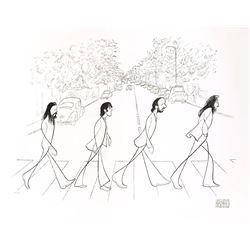 "Al Hirschfeld- Original Lithograph on Paper ""Beatles, Abbey Road"""