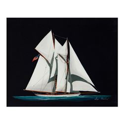 """Alex Blokhin, """"American Cup Two Masted Yacht"""" Original Oil Painting on Canvas, Hand Signed with Lett"""