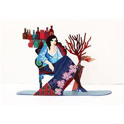 "Patricia Govezensky- Original Painting on Cutout Steel ""Sitting in the Bar III"""