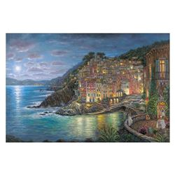"Robert Finale, ""Awaiting Riomaggiore"" Hand Signed, Artist Embellished AP Limited Edition on Canvas w"