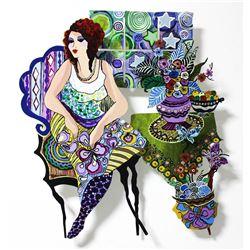 "Patricia Govezensky- Original Painting on Cutout Steel ""Violet"""