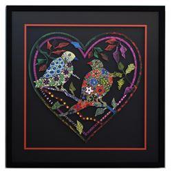 "Patricia Govezensky- Original Painting on Laser Cut Steel ""Love Birds XIV"""