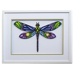 "Patricia Govezensky- Original Painting on Laser Cut Steel ""Dragonfly XXXV"""