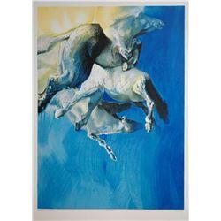 "Edwin Salomon- Original Serigraph ""Wild Horses in Blue"""