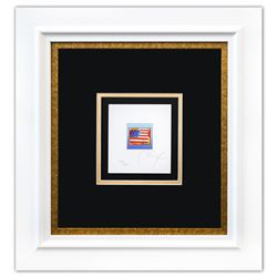 """Peter Max- Original Lithograph """"Flag with Heart on Blue (Mini)"""""""