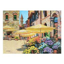 """Howard Behrens (1933-2014), """"Siena Flower Market"""" Limited Edition on Canvas, Numbered and Signed wit"""