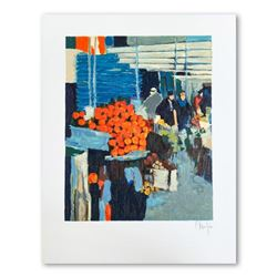 "Claude Fauchere, ""The Fruit Market"" Hand Signed Limited Edition Serigraph on Paper with Letter of Au"