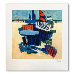 """Claude Fauchere, """"Beach Hideout"""" Hand Signed Limited Edition Serigraph on Paper with Letter of Authe"""