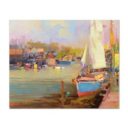 """Ming Feng, """"Waiting for the Skipper"""" Original Oil Painting on Canvas, Hand Signed with Letter of Aut"""