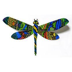 "Patricia Govezensky- Original Painting on Cutout Steel ""Dragonfly LXXVIII"""