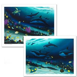 """Radiant Reef"" Limited Edition Giclee Diptych on Canvas by Wyland, Numbered and Hand Signed with Cer"