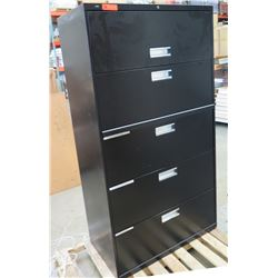 Black Metal 5 Drawer Lateral File Cabinet