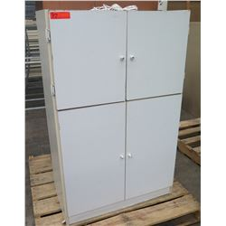 White 4 Door Cabinet w/ 2 Inner Shelves Each