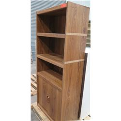 Wood 3 Tier Book Shelf w/ 2 Door Under Cabinet