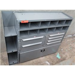 Gray Metal Organizer Shelf w/ 12 Cubbyholes, 6 Drawers & 2 Doors