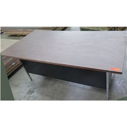 Metal Desk w/ Wood Top & 5 Drawers