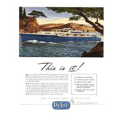 Original c.1946 Defoe Luxury Yacht Advertisement