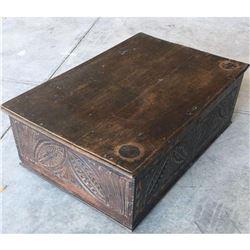 17th - 18thc English Carved Oak Cromwellian Coffer, Chest, Bible Box