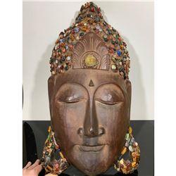 Carved Wood & Gemstone Buddha Head Sculpture