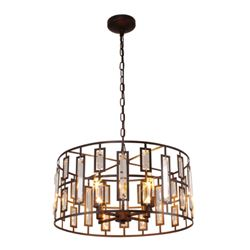Modern Rubbed Bronze & Crystal Inverted Ceiling Pendant Light
