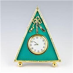 Russian Green Triangle Enameled Guilloche Clock