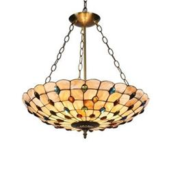 Mosaic-Style Stained Glass Inverted Ceiling Pendant Light