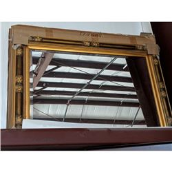 Art Deco-style Gold Gilt Carved Wood Beveled Mirror