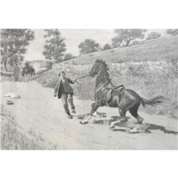 Early Halftone Print, A.B. Frost, Runaway Horse