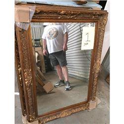 Ornate Gilt Wood Beveled Mirror