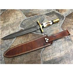Custom Damascus Steel Stag Horn Hunting Dagger Knife