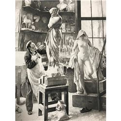 1890's Photogravure Print, Edouard Danton, Artist Studio, Sculptor With Model