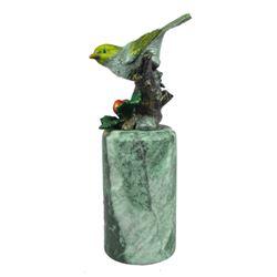Little Yellow Bird Painted Bronze Sculpture