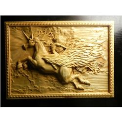 Lithuanian Carved Unicorn Wooden Plaque