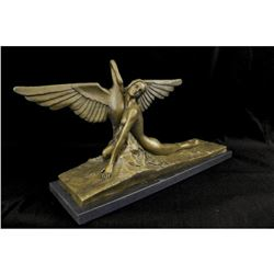 Signed Art Deco-style Greek Mythological Leda & Swan Bronze Sculpture